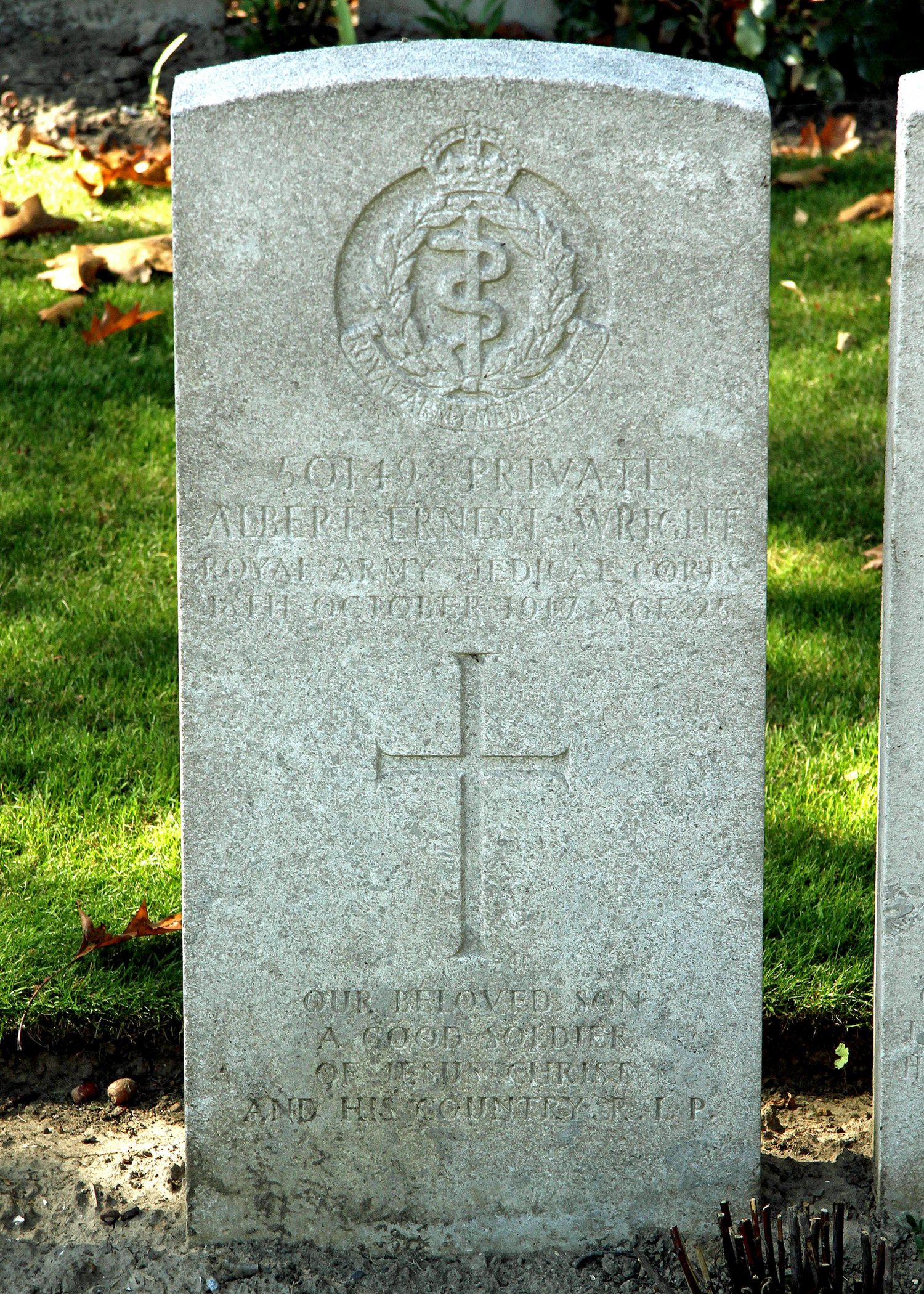 Photo of Albert Wright's Headstone